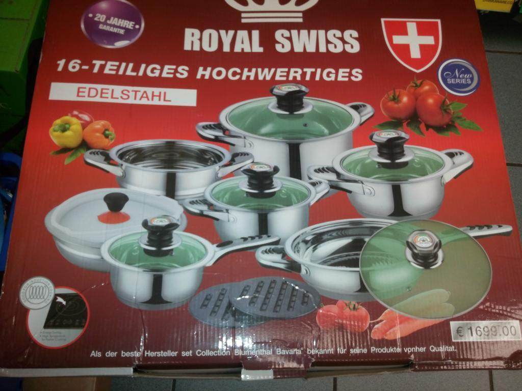 Royal Swiss 16 Teiliges Hochwertiges Stainless Steel Pots