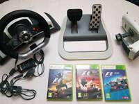 Xbox 360 Official Wireless Steering Wheel + 3 Games