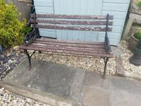 Original Cast iron wooden bench .just needs rub down & repainted.lovely bench