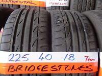 matching pair of 225 40 18 BRIDGESTONES 6mm tread £80 pair supp & fittd (LOADS MORE AV SUNDAY 5PM)