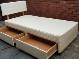 single bed base with 2 storage drawers + headboard. In used but good condition