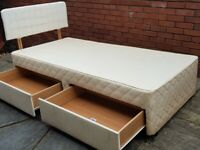 single bed base, storage drawers + headboard. Used condition but good. (mattress available if needed
