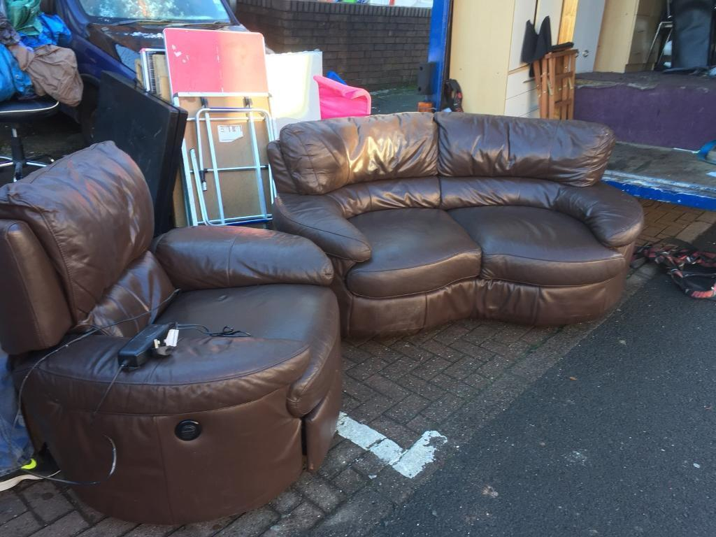 Lovely sofa suite the one seater is recliner
