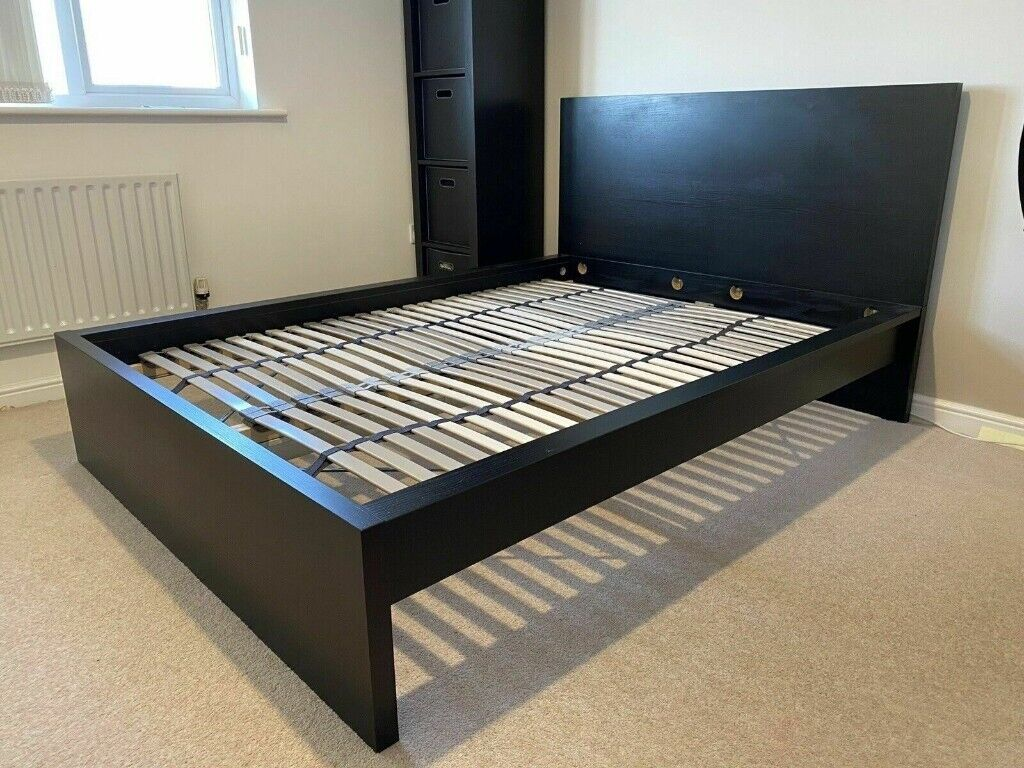 Ikea Double Malm High Black Brown Bed Frame With 4 Bed Storage Boxes Ikea Double Malm In Tottenham London Gumtree