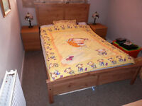 Double bed with mattres + 2 bedsite cabinets for sale