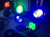 2 x Octobeam LED Dj / Band lighting with DMX Controller Power cables and XLR leads
