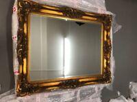 Large Beveled Glass Mirror in Ornate Vintage Gilded Frame
