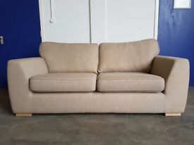 DFS ZAPP BEIGE FABRIC 3 SEATER SOFA AS NEW CONDITION EX DISPLAY SETTEE DELIVERY AVAILABLE