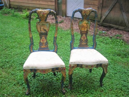 PAIR OF ANTIQUE 1800 EXQUISITE RARE HAND PAINTED FRENCH VENETIAN CHAIRS