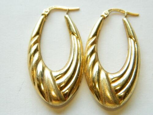 14K Gold UnoAerre  Italy Drop 1 1/3 in. Hoop Earrings  3.2 Grams