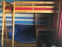 High sleeper with pull out single bed and desk