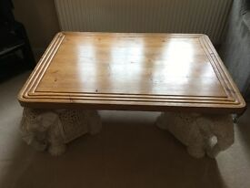 COFFEE TABLE TOP IN ANTIQUE PINE - China Elephant supports NOT included