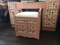 Beautiful upcycled dressing table with adjustable mirror and stool Orla Kiely paper design