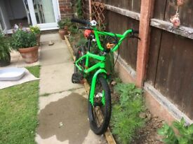 Childs bright green mountain bike, excellent condition