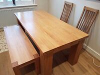 Solid Oak Dining table, 2 chairs & bench
