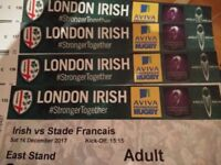 BARGAIN - UP TO 4 ADULT LONDON IRISH V STAD FRANCAIS RUGBY TICKETS AT MADEISKI STADIUM TOMORROW