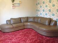 DFS Real Leather Large Corner Sofa Light-brown Exceptional Style Great Condition