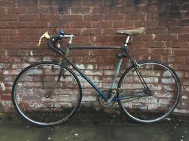 Vintage Dawes Double Blue - 58cm single speed road bike with Rolls saddle and engraved handlebars