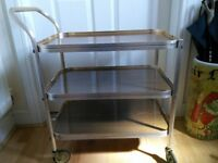 Retro gold and wood effect drinks trolley
