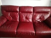 Genuine leather three seater