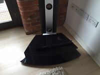 """Black glass TV stand with bracket for up to 32"""" TV"""