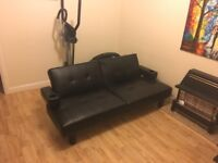 Gorgeous Black Leather Sofa Bed