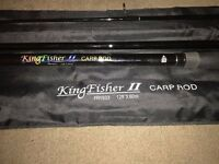 Immaculate Kingfisher 2 12ft 3 piece Carp Fishing Rod & Bag FR1933