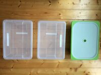 IKEA set of 3 storage boxes with lidst