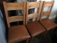 3 SOLID WOODEN CHAIRS MATCHING LIKE NEW