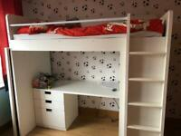 IKEA smastad white kids cabin loft bed high sleeper with desk and wardrobe