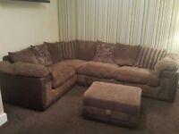 Large corner fabric sofa and footstool