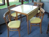 Vintage 1950s Style Drop-Leaf Kitchen Dining Table and Four Chairs