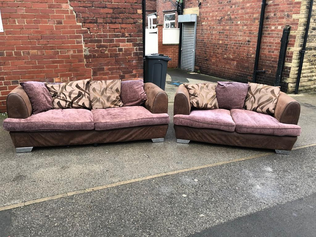 Brown two tone fabric 50 seater and matching 50 seater | in Wombwell ...