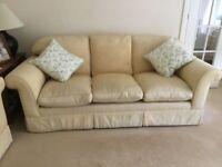 Three Seater Sofa in Gold/Beige