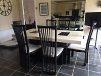 Cream And Black Marble Table With 6 Reni Chairs