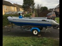 AVON SR4 SEARIDER WITH MARINER 60HP 3 CYLINDER TWO STROKE AND TRAILER