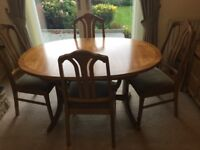 Parker Knoll dining room table with 6 chairs