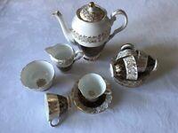 Vintage Imperial Coffee Pot, Cream Jug, Sugar Bowl, Cups & Saucers (Warranted 22kt Gold)