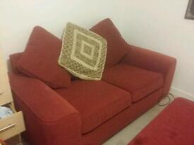 Beautiful red sofa with foot stool free delivery