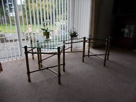 Glass and antique brass Coffee Table and matching Side Tables. Very good conditioon.