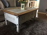 Vintage solid pine coffee table, Annie Sloan, Laura Ashley, shabby