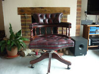 Chesterfield Leather Swivel Captain's Chair