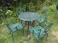 CAST ALUMINIUM GARDEN / PATIO SET - TABLE AND 4 CHAIRS --
