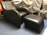 Hollywood Arm Chair & Foot Stool Black Leather Gerard Van den Berg Montis Loge