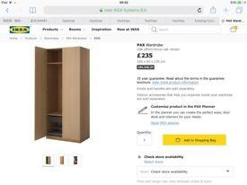 Oak ikea double wardrobe 236cm height