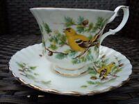 Royal Albert Woodland Series Goldfinch Rare Bone China Tea Cup Saucer