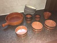 Assorted 'Nandos' style terracotta tapas dishes