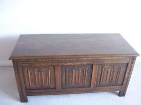 Linenfold Oak blanket box