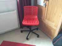 Ikea sporren office chair red and black excellent condition