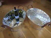 Large Leather Handled Champagne Ice Buckets - £150 each - Great Bargain